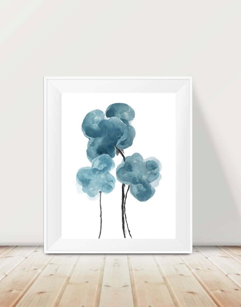 Blue gray wall decor 11x14 watercolor art print blue gray for 11x14 paper size