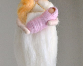 Guardian Angel/ Wall Hanging/Mother's day Gift/ Waldorf inspired needle felted doll: Angel with baby