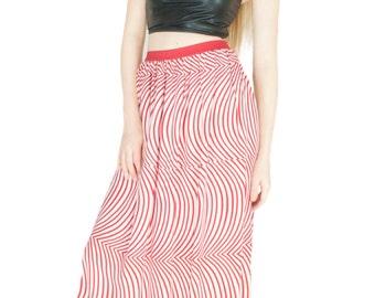 Maxi Skirt Cotton Red Geometric Print