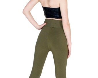 Green Leggings High Waist Bamboo Tights Organic Yoga Pants