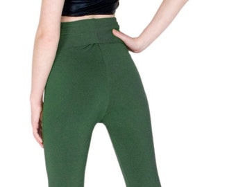 Hunter Green Leggings Fold over Waistband Bamboo Yoga Pants