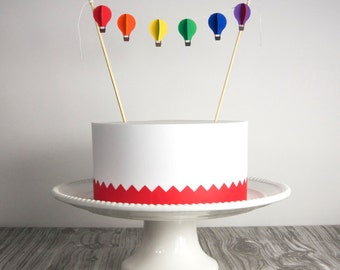 Cake Bunting, Hot Air Balloons in Rainbow Colors