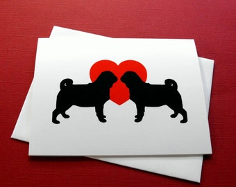 Pug Love Cards - Pack of 4 or 12 Pug Dog Notecards - Dog Stationery
