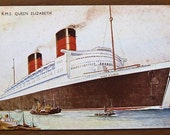 Vintage postcard, 1940s, RMS Queen Elizabeth, original, Bernard W. Church,  England , ship, collectible, paper ephemera, free shipping