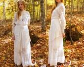 Antique White Lace WOODLAND WEDDING DRESS Woman's Romantic Boho Bridal Maxi Gown 30s Overlay ladies Downton Abbey Victorian Tea Garden Frock