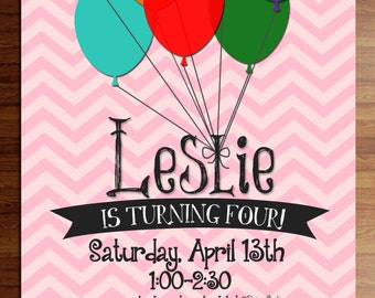 Custom digital or printed invitation + FREE SHIPPING!  Balloon birthday or party invitations, pink chevron