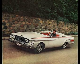 1962 Dodge Polara 500 Print Ad White Convertible 1960's Auto Original Ad