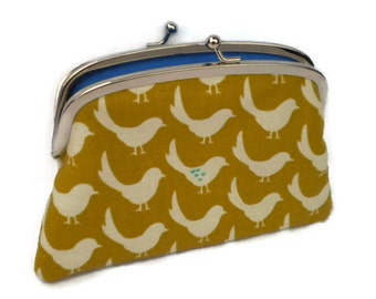 Mustard wallet with cute birds, large kiss lock purse with 2 compartments, turquoise hearts