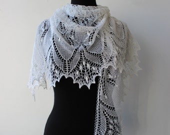 White lace shawl, hand knitted wedding shawl, Estonian lace