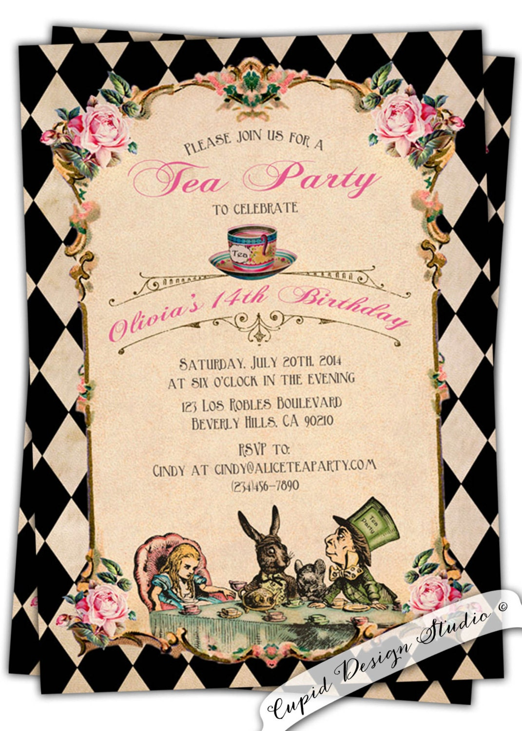 Vintage Alice In Wonderland Baby Shower Invitations for nice invitations design