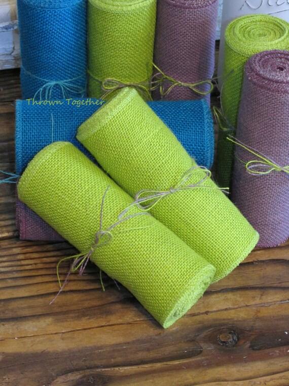 Kiwi lime green burlap ribbon 6 wide easter decor for Green burlap ribbon