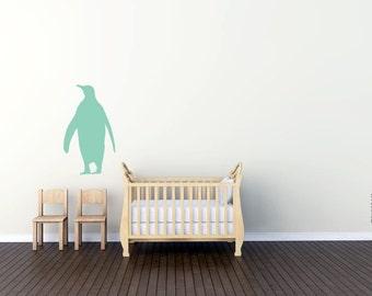 Penguin vinyl decal sticker. Mint baby nursery wall decal. Baby room decor, penguin wall decal, by TANGRAMartworks. Cute penguin sticker