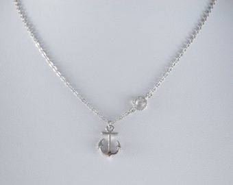 Anchor Pendant Necklace. Rhodium Plated Necklace. Simple Nautical Jewelry. Ocean Lover, Beach, Hope. Flowergirl, Bridesmaid Gift Jewelry
