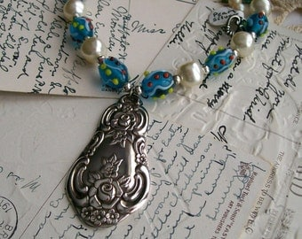 Silver Pendant Necklace - Recycled Vintage Pearls - Vintage Blue Glass Beads  - Silver Pendant