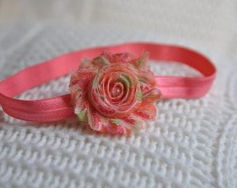 Baby Headband. Spring Headband. Skinny Headband. Orange and Pink Headband. Newborn Headband
