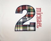 Personalized Birthday Shirt for boys, 1st, 2nd, 3rd - Applique, Customized, Embroidered, Nam, Plaid