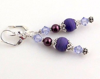 Lavender and Silver Crystal Earrings, Lampwork Earrings, Glass Bead Earrings, Fashion Jewelry, Career Wear, Gifts, Mother's Day