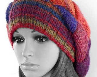 Knit entrelac beanie - knit hat - entrelac hat - knit slouchy beanie - wool hat - blend wool beanie - gift for women - multicolor beanie