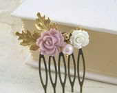 Flower Hair Comb -  Vintage inspired - Antique Bronze - Gold Oak Leaves - Hair Accessory - Resin Jewelry