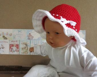 Baby Crochet Sun Hat, Children Bucket Hat, Red Wool Hat, Summer Childrens Hat, Christmas Photo Props Melbourne Australia