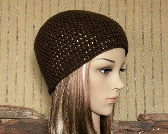 Crochet Hat, Womens Mens Beanie, Brown Beanie, Winter Wool Hat, School Student Beanie, Australia