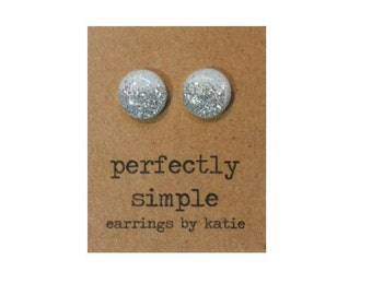 White with silver glitter stud earrings