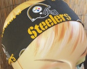 Pittsburgh Steelers Black Football Headband Accessory- Cotton NFL Fabric - Clearance
