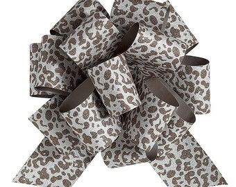 """Brown LEOPARD Glitter Sparkle PuLL BOW  2"""" wide 6.5"""" Diameter 16 Loops - Events, Birthday , Wreaths, Decorative Bow-Gift wrap -Baskets"""