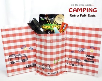 CAMPING Favor Bags,-24 count Assorted- Camping, around the Fire Pit Party Survival Treat Bags, Candy , Cookies, Favors