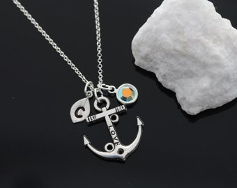 Personalized Anchor Necklace With Initial And Birthstone, Unique Anchor Necklace, Anchor Pendant Necklace