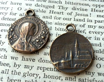 "Rosa Mystica - Lourdes - Religious MEDAL - 1"" -Bronze or Sterling Silver - Vintage Medal Replica (M122-1089)"