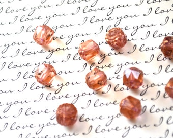 Czech Glass Beads - Vintage Pink - 6mm or 8mm - Cathedral Beads - 60 BEADS - Czech Glass Cathedral Beads (B38)