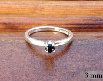 Black Spinel Sterling Ring, Promise Ring, Engagement Ring, Black Diamond Alternative, Bridesmaids Gifts, 3mm Gemstone, Polished Silver