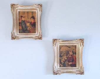Two Vintage French Style Framed Huldah Art circa 1950s-1960s