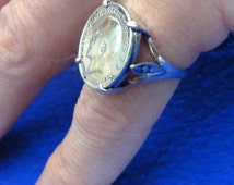 1916 George V Silver Threepence Coin Ring 3p Half a Sixpence