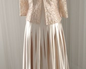 On Hold: DO NOT BUY New with Tags Vintage Mocha Pleated Wedding Dress/Bridal with matching Lace Jacket