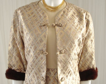 Mid Century RAPPI Brocade Mad Men Style Jacket and Dress Ensemble with Sable Trim Bust 36""