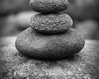 Stone cairn, Rock cairn, Zen photography, Zen stones, Zen art prints, Black and white photography print, Photography black and white.