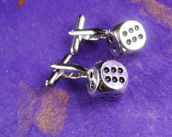 Lucky Dice Cufflinks Vintage High Roller Casino Gamblers Players Novelty Cuff link silver mens hipster cool gift Gambling Jewelry