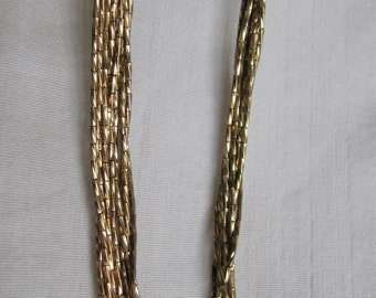 Vintage Necklace Liquid Gold Tone Jade Accent