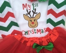 TODDLER-Baby girl 1st Christmas outfit - baby girl christmas photo outfit - personalized christmas baby outfit - WITH TUTU
