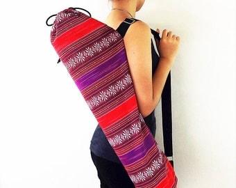 Handmade Yoga Mat Bag Yoga Bag Sports Bags Tote Yoga Sling bag Pilates Bag Pilates Mat Bag Woven Yoga Bag Women bag Woven Cotton bag (FF5)