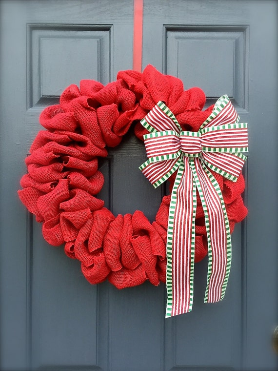 on sale red burlap christmas wreath red by wreathsbyrebeccab. Black Bedroom Furniture Sets. Home Design Ideas