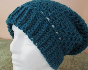 Crocheted Slouchy Hat Teal / Blue / Green / Beanie / Beret / Tam / Cap