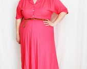 Plus Size - Vintage Coral Shirt Dress (Size 16W)