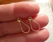 14k Gold Earrings Dangle Hoops Pierced Post Pretty Gift Small Tiny Little Earrings Wedding Bride Hoop Design Yellow Gold Groom Gift Sale