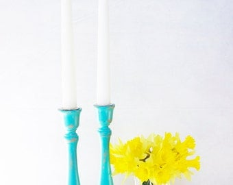 Wooden Candlesticks - Pair of Hand Painted Shabby Chic Distressed Aqua Wood Candle Stick Holder Set