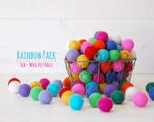 3CM Wool Felt Balls - Rainbow Pack - 100% Wool Felt Balls - (3cm/30mm) - Colorful Felt Balls - Mix & Match Felt Balls - 12 Felt Balls