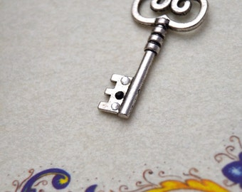Silver key necklace with rhinestones, Skeleton key necklace