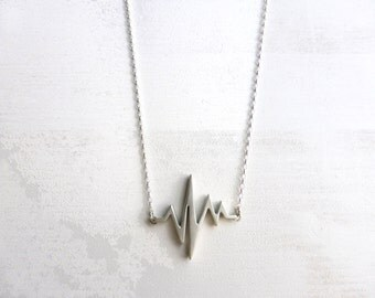 SPECIAL PRICE - Beat Pendant - Heart Beat Necklace - Heart Beat Rhythm Necklace - Sterling Silver Necklace